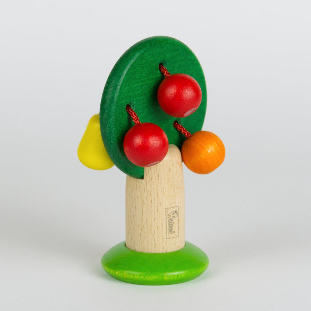 Obstbäumchen aus Holz mit einer Kirsch- und einer Birnenseite