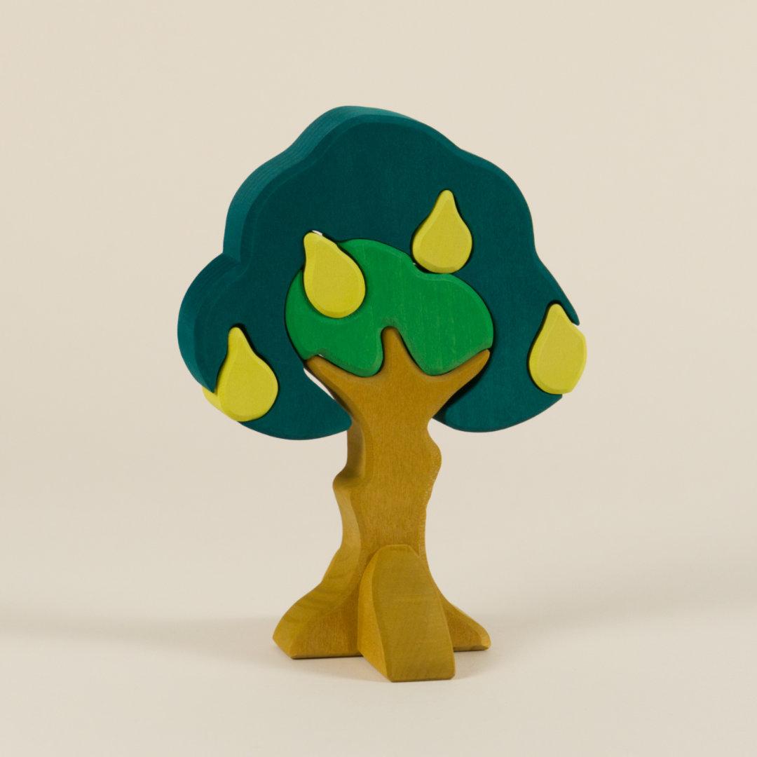 7-teiliger Birnbaum aus Holz in abgestuften Grüntönen zum Puzzeln und Stecken