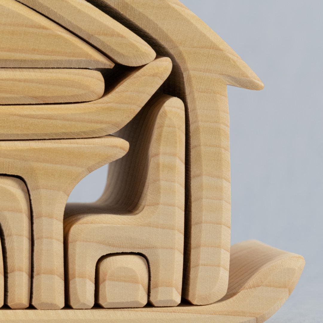 Detail zusammenstreckbare Einzelteile in Möbelform