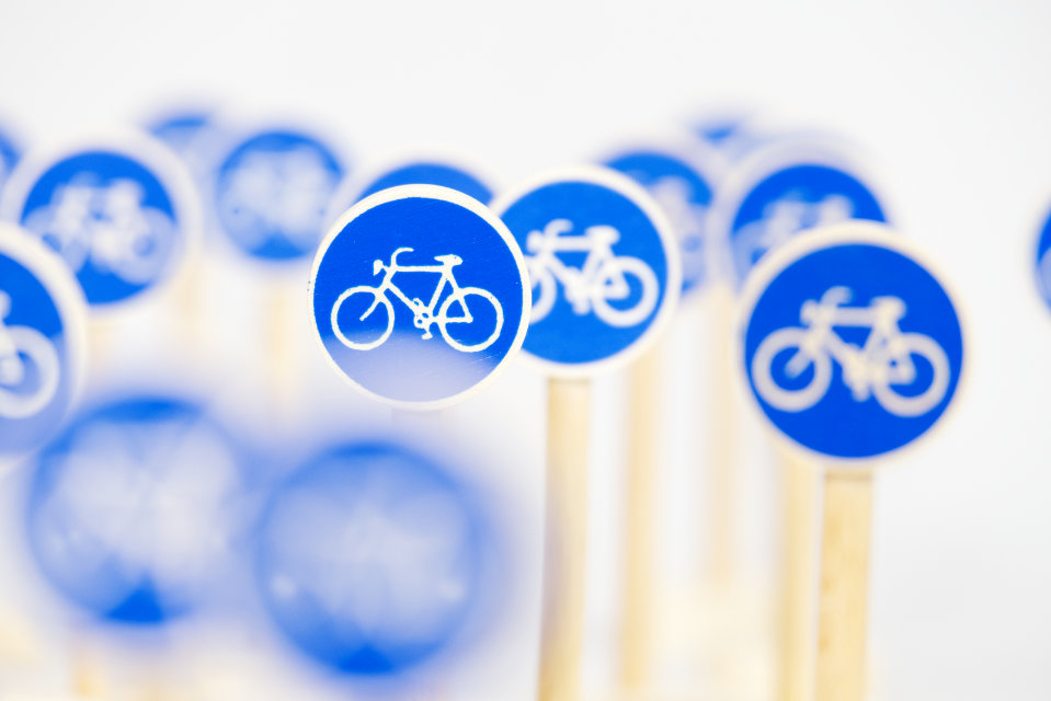 Holz-Straßenschild Typ Fahrradweg, Komposition