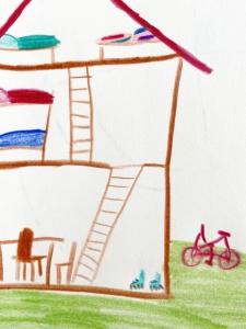 Kinder-Zeichnung mit Fahrrad, Rollschuhen und Haus