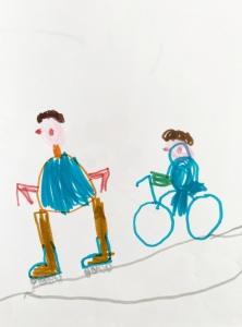 Kinder-Zeichnung mit Person auf Fahrrad und Person auf Rollschuhen